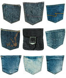 collection of different jeans pocket isolated on white Stock Photos