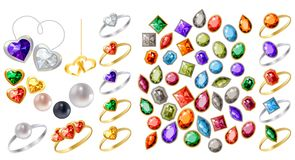 Collection of different jewels vector illustration