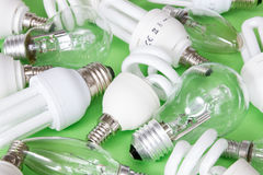 Collection of different kind of lightbulbs Royalty Free Stock Image