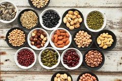 Collection of different legumes. For background Stock Images