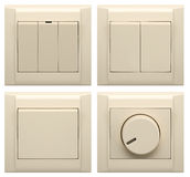 Collection of different light switch on white Stock Photos