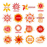 Collection of different logos for solarium Stock Photos