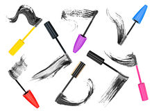 Collection of different mascara brush strokes Royalty Free Stock Images