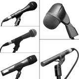 Collection of different microphones Royalty Free Stock Photos