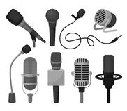 Flat vector set of different microphones. Professional sound recording equipment. Dynamic and condenser mics royalty free illustration