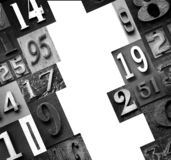 Numbers in metal as a background stock photography