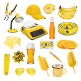 Collection of different objects isolated. Collection of different yellow and orange objects isolated on white background royalty free stock image