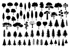 Collection of different park, forest, conifer cartoon trees silhouettes in black color. Set stock illustration