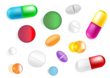 Set with vector different pills. Royalty Free Stock Photo