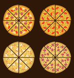 Collection of Different Pizza Isolated Royalty Free Stock Image