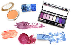 Collection of different professional make up products top view Stock Images