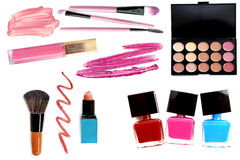 Collection of different professional make up products top view Royalty Free Stock Photo