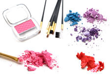 Collection of different professional make up products top view Royalty Free Stock Photos