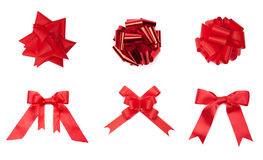 Collection of different red colored bows Stock Photos