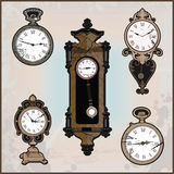 Collection of different retro clocks Stock Photos