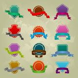 Collection of different ribbon icons Stock Photography