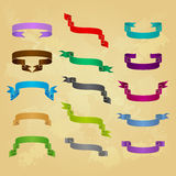Collection of different ribbon icons Royalty Free Stock Images