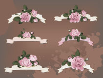 Collection of a different ribbon roses Stock Photo