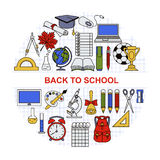 Collection of different school objects arranged in a circle. Royalty Free Stock Photography