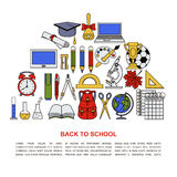 Collection of different school objects. Royalty Free Stock Image