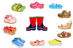 A collection of different shoes. Isolated stock photo