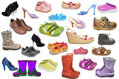 A collection of different shoes. Isolated royalty free stock photography