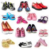 Collection of different shoes. Isolated on white background stock photos