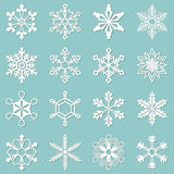 Collection of 16 different snowflakes. Sixteen white snowflakes of different shapes. Winter set vector illustration Vector Illustration