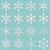 Collection of 16 different snowflakes Royalty Free Stock Photos