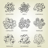 Collection of different sorts of macaroni. Realistic line art vector illustration with dough products. Royalty Free Stock Photos
