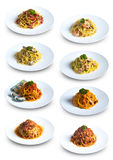 Collection of Different Spaghetti Dishes royalty free stock image