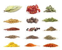 Collection of different spices and herbs Royalty Free Stock Photos