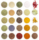 Collection of different spices and herbs Stock Photo