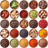 Collection of different spices and herbs isolated on white Stock Image