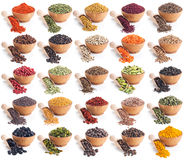 Collection of different spices and herbs isolated on white Royalty Free Stock Photography