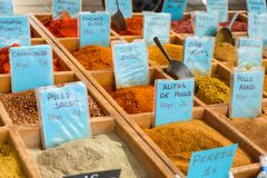 Collection of spices for sale. Royalty Free Stock Images
