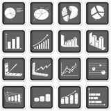 Statistic graph icons Stock Photography