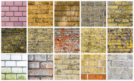 Collection of different stone and wall backgrounds Stock Images