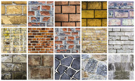 Collection of different stone and wall backgrounds Stock Photo