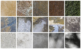 Collection of different stone and wall backgrounds Stock Photos