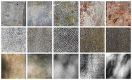 Collection of different stone and wall backgrounds Royalty Free Stock Photos