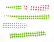 Collection of different stripes of masking tapes on white background for scrapbook. Royalty Free Stock Images