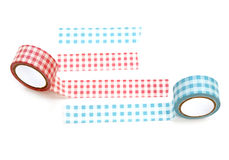 Collection of different stripes of masking tapes on white background for scrapbook Royalty Free Stock Photo