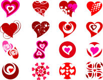 Collection of different style hearts Stock Images