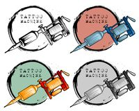 Collection of different style tattoo machine vector illustration
