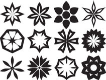 Collection of 12 Different Stylistic Flowers. Collection of 12 Different Stylistic Flowers, Black and White Vector Illustration Royalty Free Stock Images