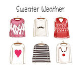 Collection of different sweaters Stock Image