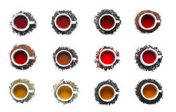 Collection of different teas in cups Stock Photos