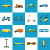 Collection of transport icons in flat style Royalty Free Stock Images