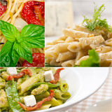 Collection of different type of Italian pasta collage Royalty Free Stock Photography
